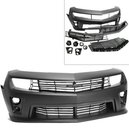 (Camaro 10-13 Real ZL1 Style Front Bumper Cover PP Black Fog Light Grille Lip)