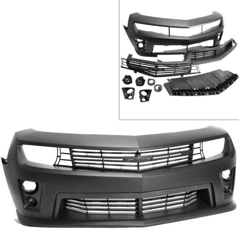 Camaro 10-13 Real ZL1 Style Front Bumper Cover PP Black Fog Light Grille Lip