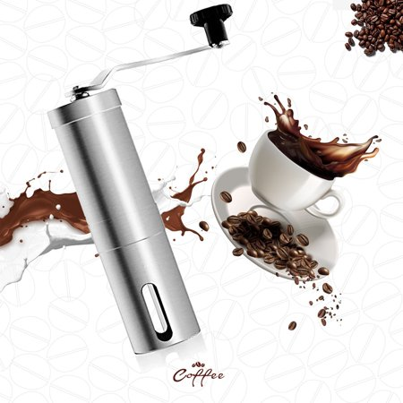 GLiving Manual Coffee Grinder Hand Crank Conical Coffee Bean Grinder with Adjustable Ceramic Burr, Portable Mini Burr Grinder Mill for Travel, Best Coarse Grind for French