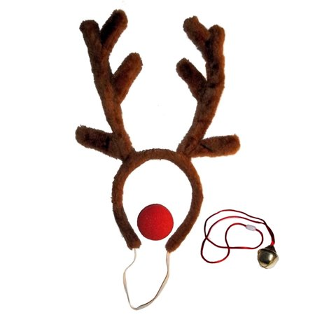 Bell Necklace (Red-Nosed Reindeer Antlers and Nose Set with Large Jingle Bell)
