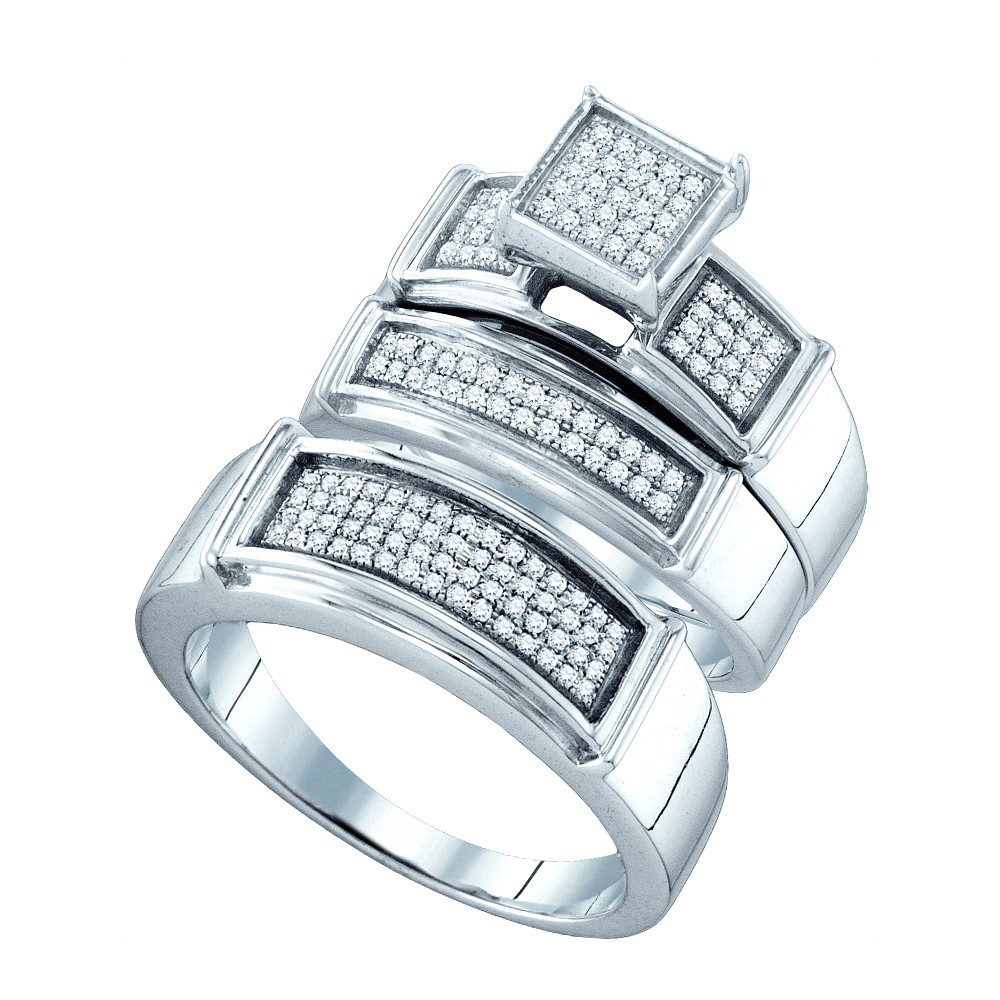 Sterling Silver His & Hers Round Diamond Cluster Matching Bridal Wedding Ring Band Set (.38 cttw.)