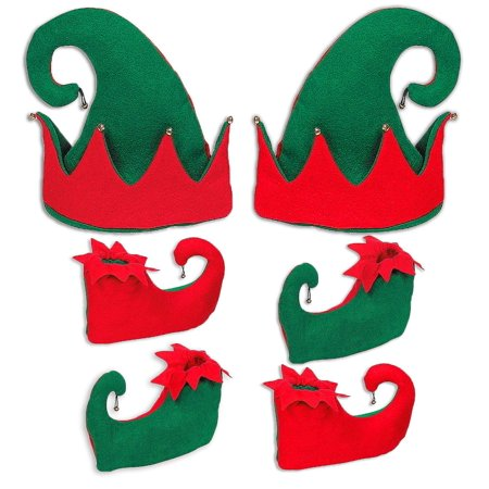 4E's Novelty Christmas Santa Elf Shoes & Hat Costume Accessories Set, Red and Green, 2 Hats 4 Pairs Shoes (Red Costume Shoes)