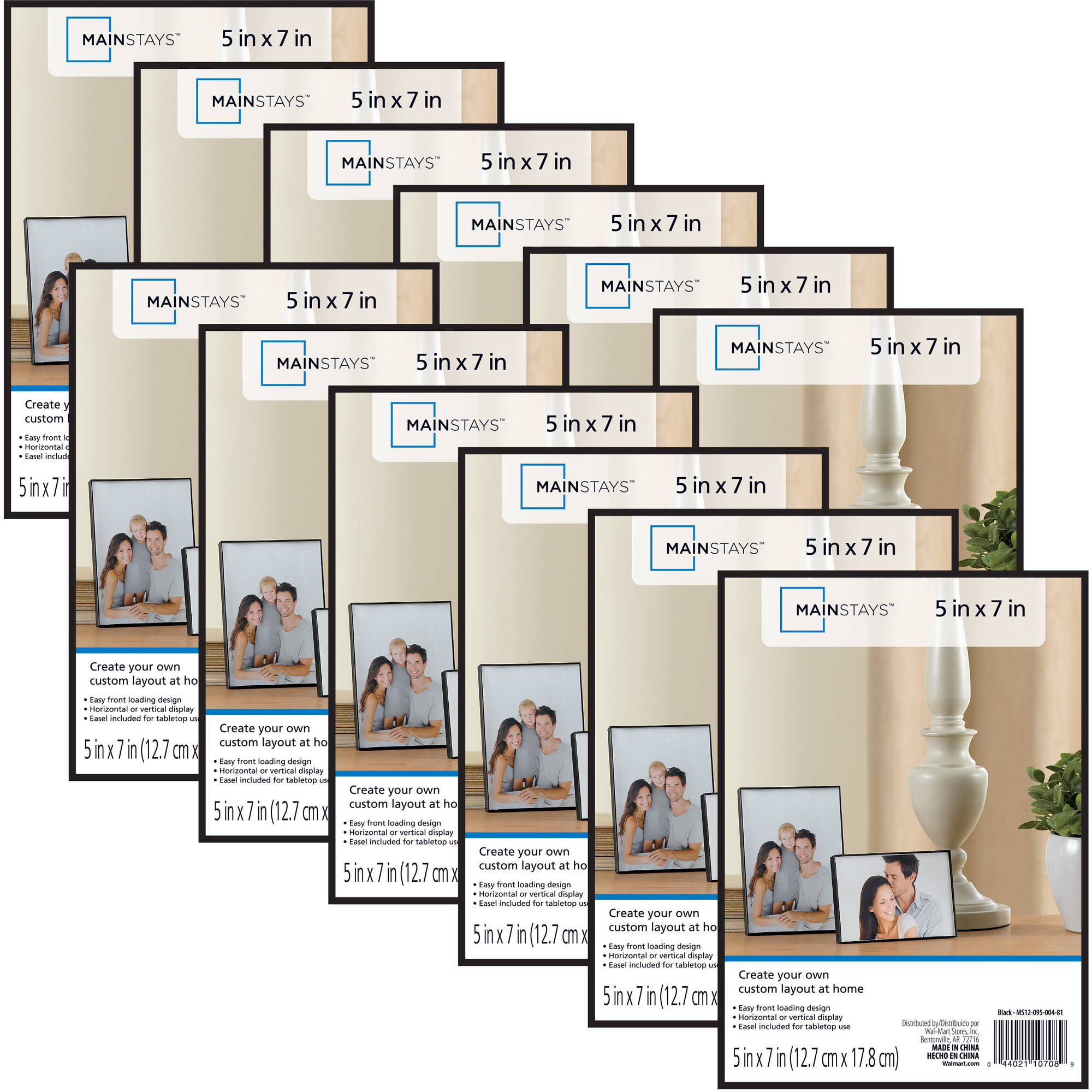 Mainstays 5 X 7 Format Picture Frame Black Set Of 12 Walmart Com Walmart Com