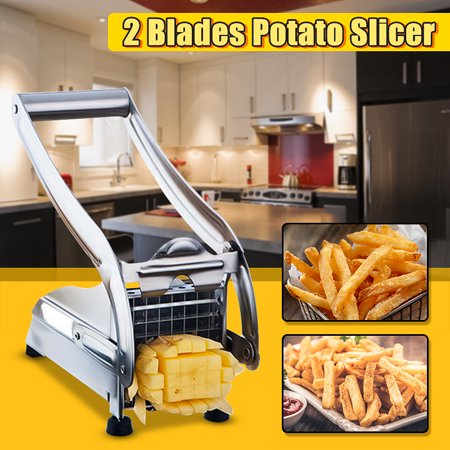 Stainless Steel Metal Home Potato French Fry Cutter Chip Cutter Slicer Chopper Dicer Maker with 2 Interchangeable Blade s for Fruit Veg Potato 36/64 Hole