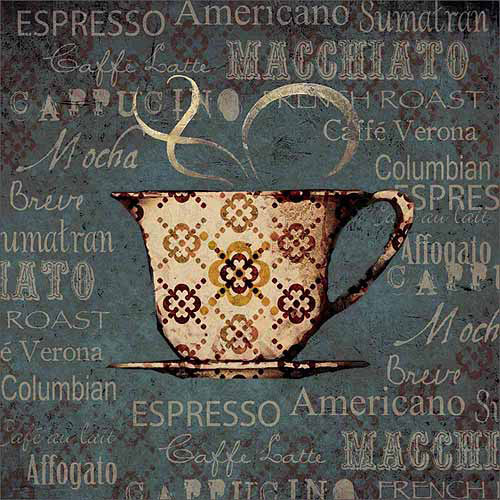 Coffee Word Collage Kitchen Typography Cup Painting Blue Canvas Art by Pied Piper Creative