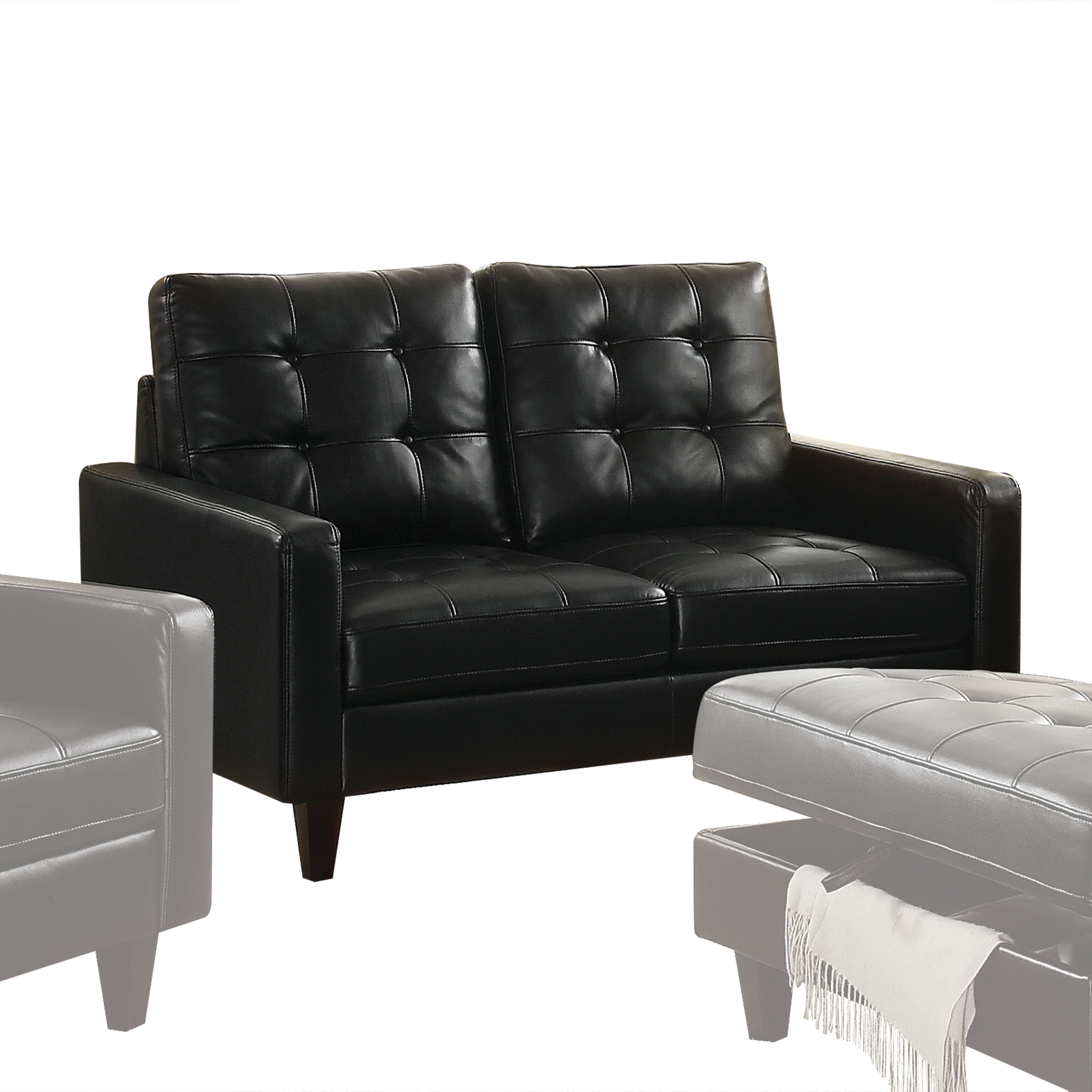 Acme Adley Memory Foam Loveseat in Black Leather-Gel