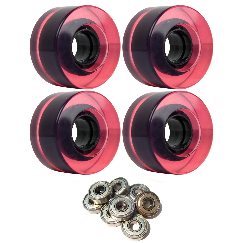 SKATEBOARD CRUISER WHEELS 56mm x 31mm 83A MAGENTA C Pink Clear ABEC 7 BEARINGS