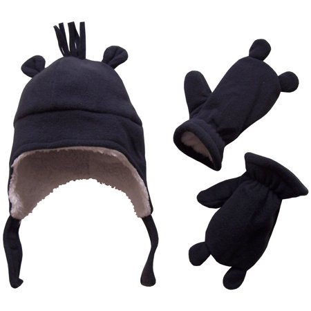 623ab23438b NICE CAPS Toddler Boys and Baby Warm Sherpa Lined Micro Fleece Hat and  Mitten Cold Weather Winter Snow Headwear Accessory Set with Ears - Fits  Little Kids ...