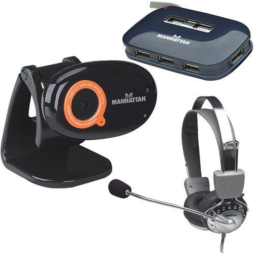Manhattan 460545 7.6MP HD Webcam, 175517 Headset, 161039 USB 2.0 Hub