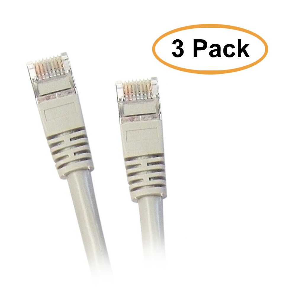 eDragon Shielded Cat5e Gray Ethernet Cable, Snagless/Molded Boot, 25 Feet, 3 Pack