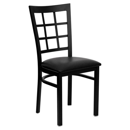 (Flash Furniture HERCULES Series Black Window Back Metal Restaurant Chair, Vinyl Seat, Multiple Colors)