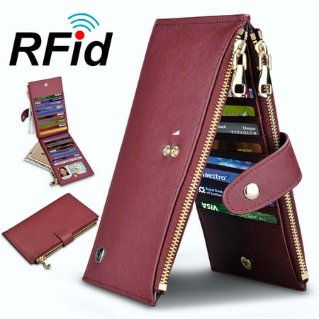 Njjex Womens Walllet RFID Blocking Bifold Multi Card Case Wallet with 2 Zipper Pockets 2 Pocket Card Case