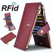 Njjex Womens Walllet RFID Blocking Bifold Multi Card Case Wallet with 2 Zipper Pockets