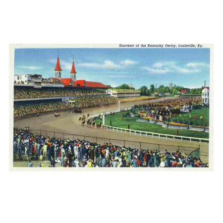 Louisville, Kentucky - Souvenir of the Kentucky Derby; Race Scene Print Wall Art By Lantern (Best Derby Pie In Louisville)