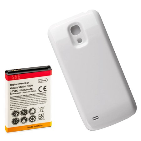 4800mAh Extended Replacement Battery + White Battery Door for Samsung Galaxy S4 Mini, i9190 , i9192