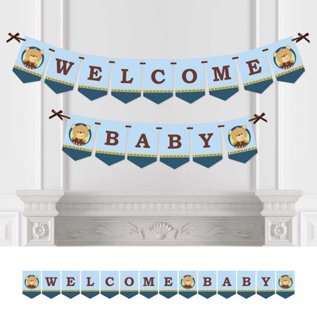 Baby Boy Teddy Bear   Baby Shower Bunting Banner   Blue Party Decorations   Welcome Baby
