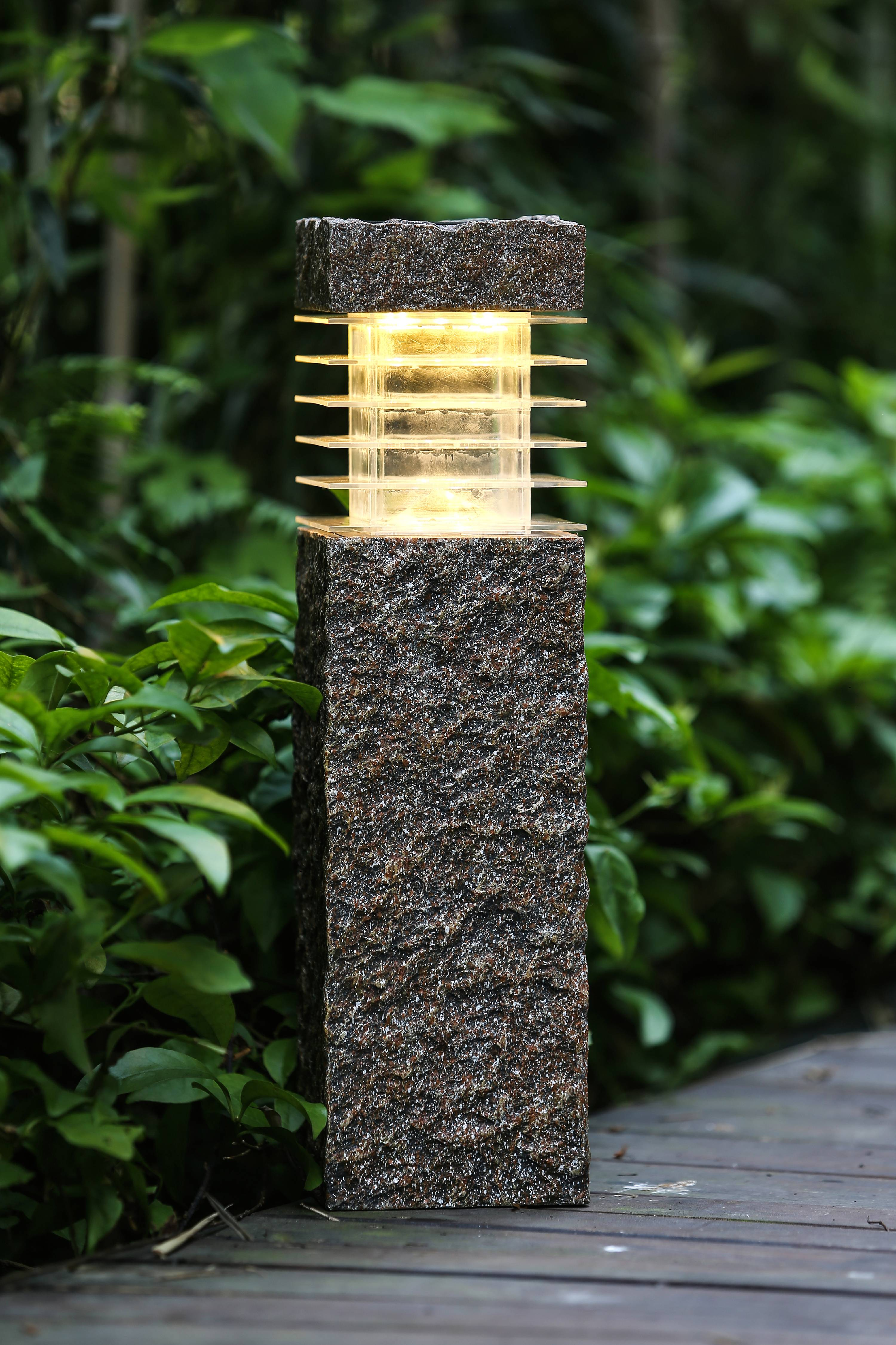 Faux Rock Post with Solar Light