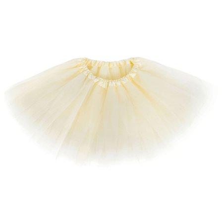 (Girls Tutu Children's 4 Layered Tulle Princess Ballerina Dance Skirt, Cream)