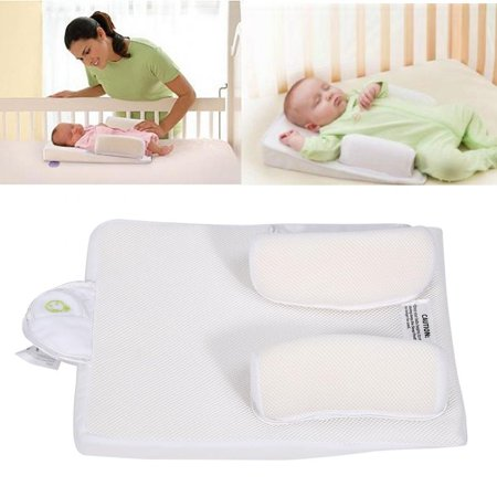 - Knifun Newborn Baby Sleep Positioner Portable Infant Crib Washable Nursing Safe Side Anti Roll Pillow Support with Vomiting Milk Design for Enjoying Comfortable Sleeping, No More Sleepless