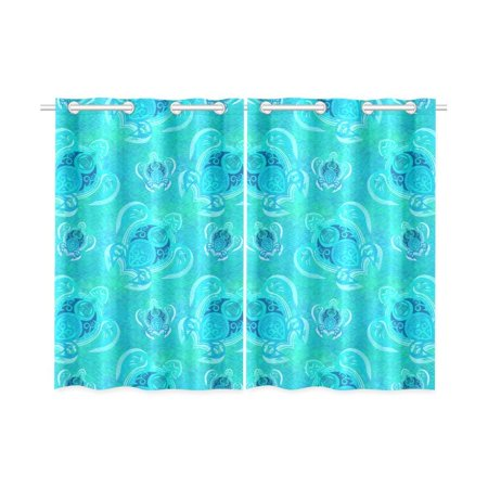 Sea Turtle Two Piece - CADecor Sea Turtle Pattern Window Curtain Window Treatments Kitchen Curtains 26x39 inches, 2 Pieces