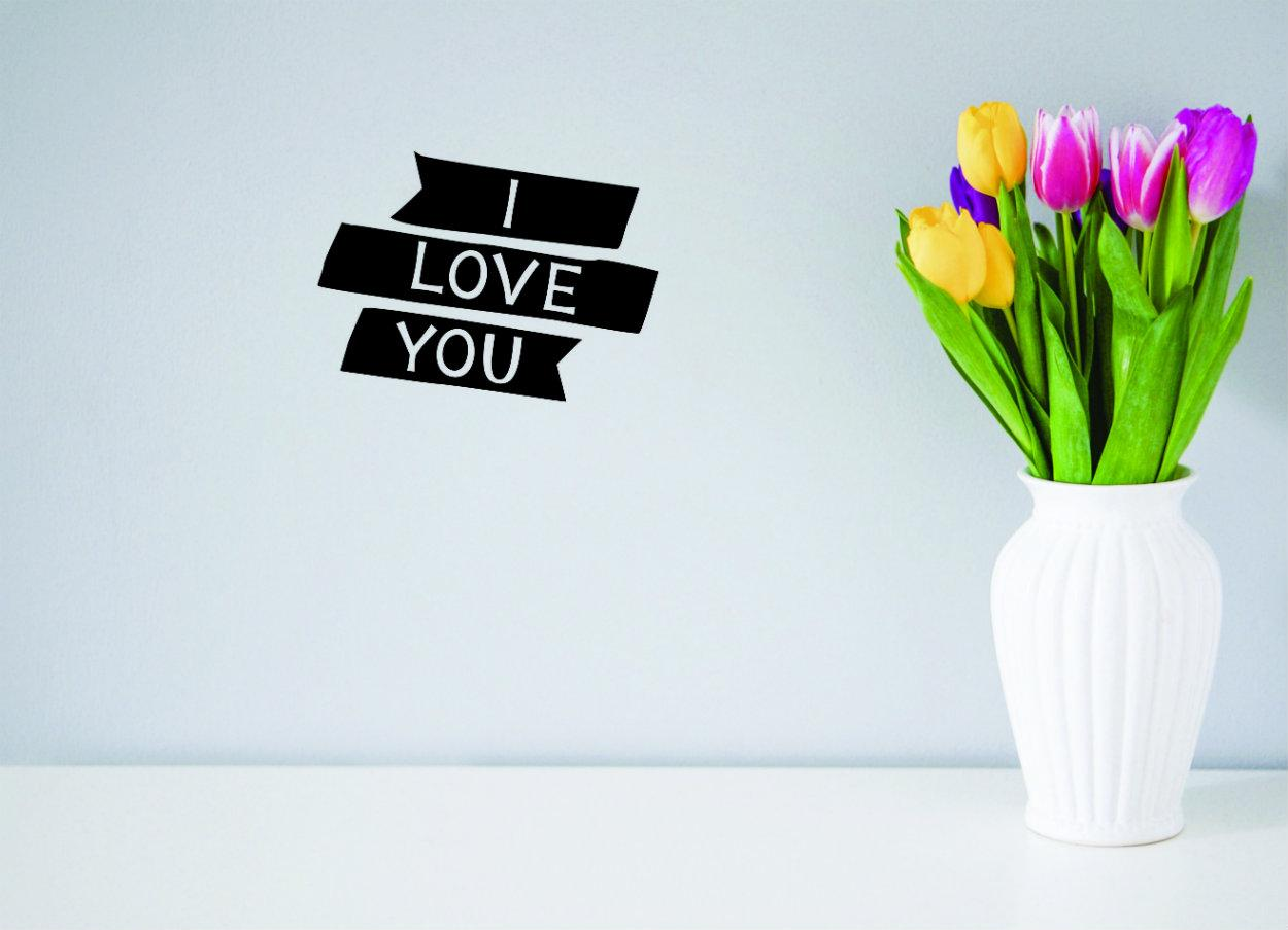 Design with Vinyl Moti 1597 1 I Love You Peel /& Stick Wall Sticker Decal 12 x 12 Black
