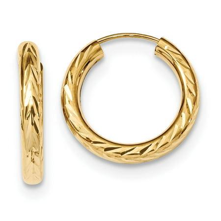 Roy Rose Jewelry 14K Yellow Gold Polished & Diamond-cut Endless Hoop Earrings
