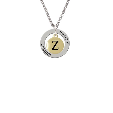 Capital Gold Tone Letter   Z   Pebble Disc   Lucky Dog Affirmation Ring Necklace