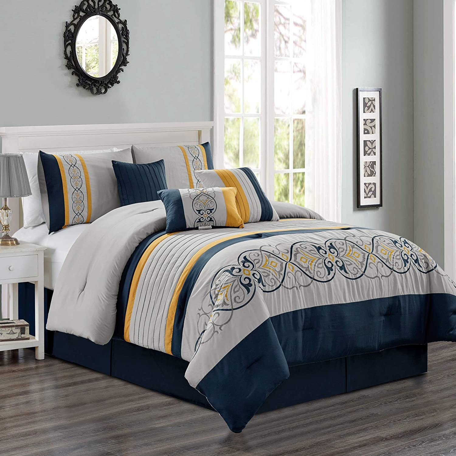 Sapphire Home Luxury 7 Piece California King Comforter Set With Shams Bed Skirt Cushions Gray Navy Blue Yellow Elegant Stripe Damask Pattern Bed Cover Bed In A Bag 21670 Cal King Walmart Com Walmart Com