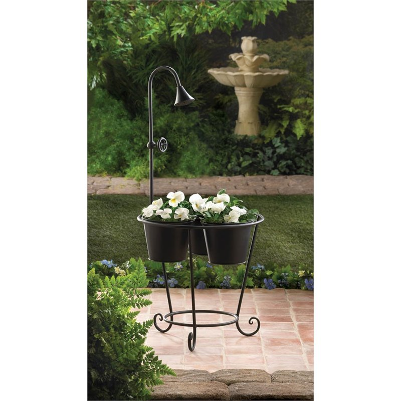 Zingz and Thingz Plant Stand with Water Faucet in Black