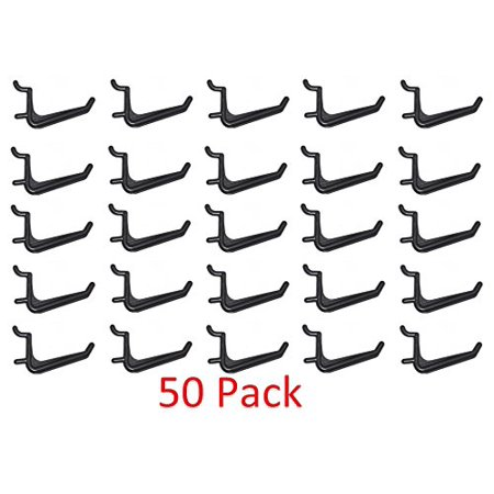 50 Pack Of JUMBO Pegboard Hooks Black Garage Tools Hammer Air Tool Storage Organization Jewelry (Pegboard Storage)