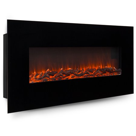 Best Choice Products 50in Indoor Electric Wall Mounted Fireplace Heater w/ Adjustable Heating, Metal-Glass Frame, Controller - Black
