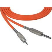1Pc Sescom SC6SZMZOE Audio Cable Canare Star-Quad 1/4 TRS Balanced Male to 3.5mm TRS Balanced Male Orange - 6 Foot