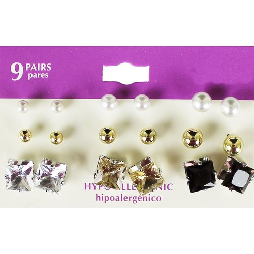 Everyday Essentials Gold-Tone and Silver-Tone Stud Earrings