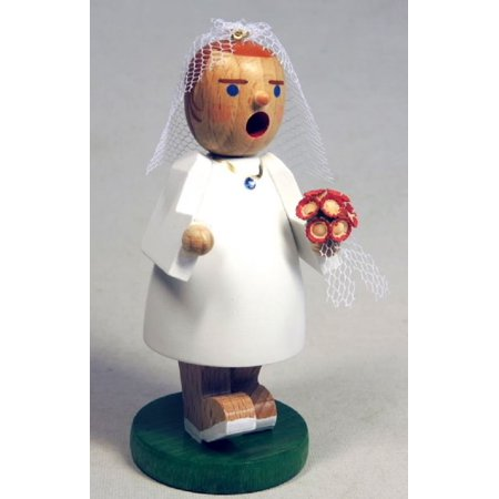 Wedding Bride with Flowers and Veil German Wood Christmas Incense Smoker - Flowers And Veil