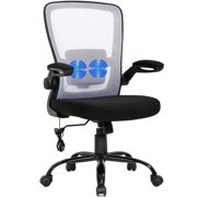 Massage Office Chair Ergonomic Desk Chair Mesh Computer Chair Swivel Rolling Executive Task Chair with Lumbar Support Arms Mid backAdjustable Chair for Women Adults(White)