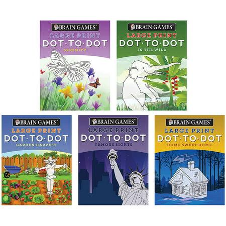 Set/5 Dot To Dot Large Print Books - Puzzles Wildlife Garden Famous Places +](Wildlife Puzzles)