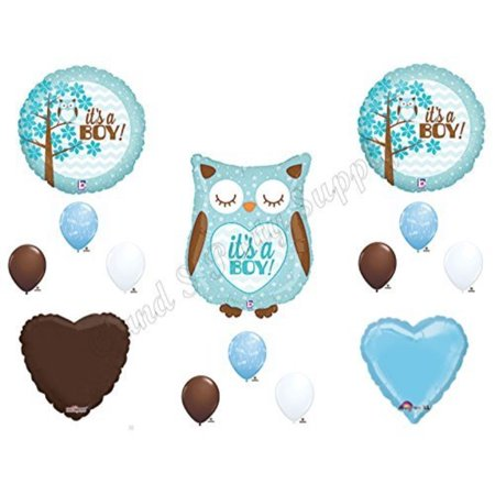 Baby Boy Owl Shower Balloons Decorations Supplies (Baby Shower Decorations Owls)