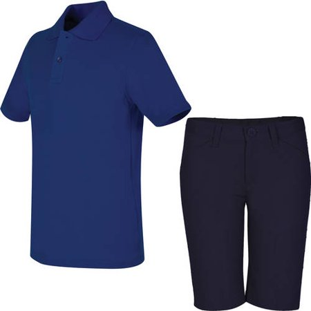 REAL SCHOOL Girls Uniform Outfit Polo Shirt and Shorts Value Bundle