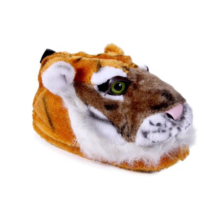 Happy Feet Mens and Womens Tiger Animal Slippers - Orange and White