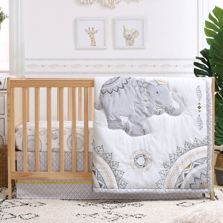 Boho Grey Elephant 3 Piece Baby Crib Bedding Set By The