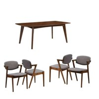 5 Piece Mid Century Modern Dining Set in Dark Walnut