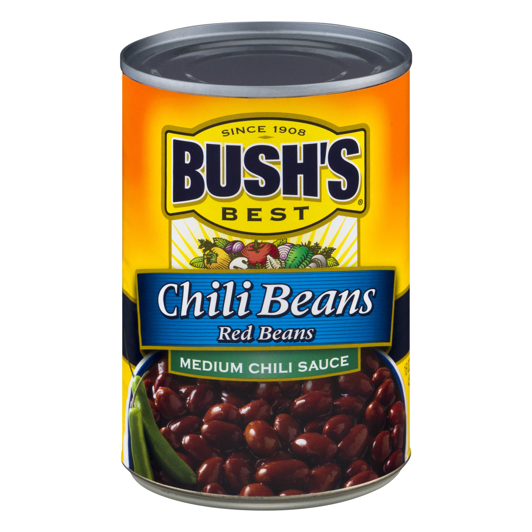 (6 Pack) BUSH'S Red Beans in a Medium Chili Sauce, 16 oz.