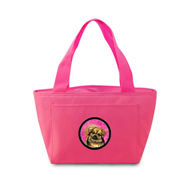 Pink Tibetan Spaniel Zippered Insulated School Washable And Stylish Lunch Bag Cooler