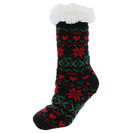 Happy Holidays Womens Sherpa Lined Christmas Fairisle Slipper Socks  Snowflake