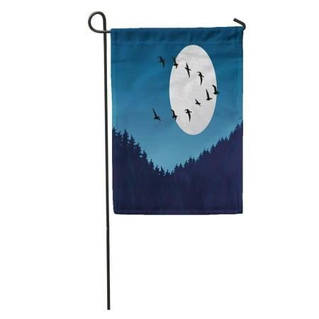 Moonlit Bird (SIDONKU Blue Wild Bird Migration Fly Emigration Moon Moonlight Nomad Pattern Garden Flag Decorative Flag House Banner 12x18 inch )