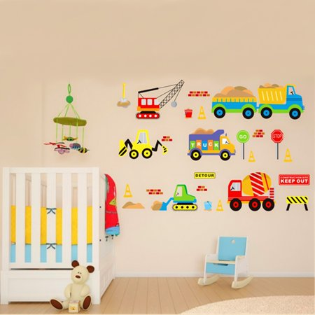 Removable Wall decorationspaper Sticker Transport Truck Digger Car Art Decal Kids Children Room Nursery - Car Room Decor