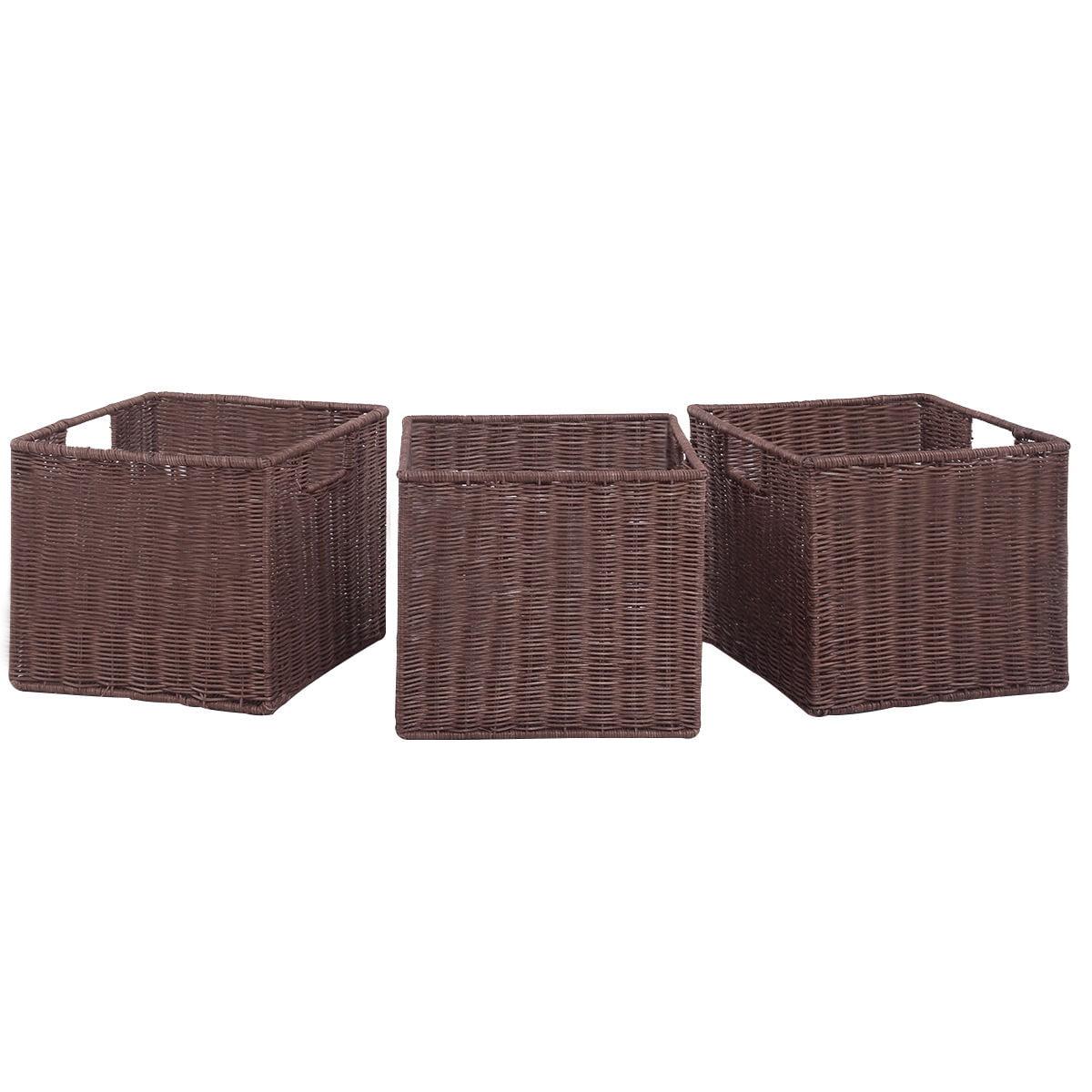 Gymax Set of 3 Wicker Rattan Storage Baskets Nest Nesting Cube Bin Box by Gymax
