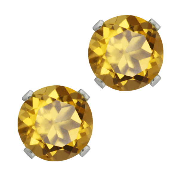1.60 Ct Round Champagne Quartz 925 Sterling Silver 4-prong Stud Earrings 6mm