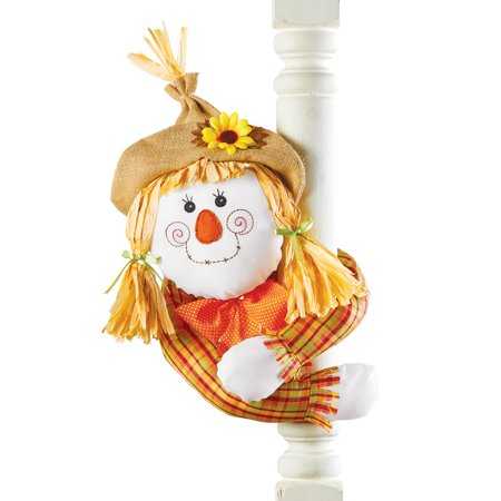 Collections Etc. Cute Harvest Scarecrow Decoration, Posable Scarecrow with Straw Hat and Hugger Arms, Girl (Scarecrow Decoration)