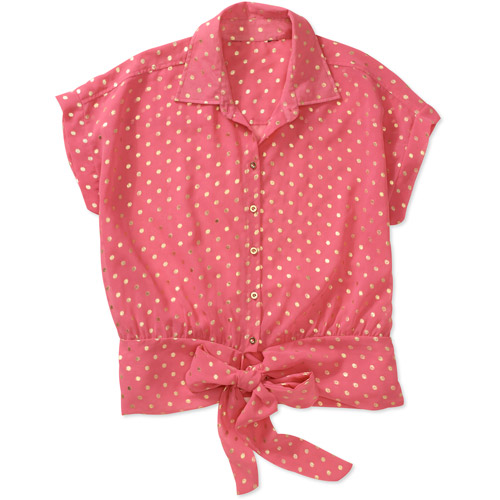 Brooke Leigh Women's Button-Up Tie Front Short Sleeve Top